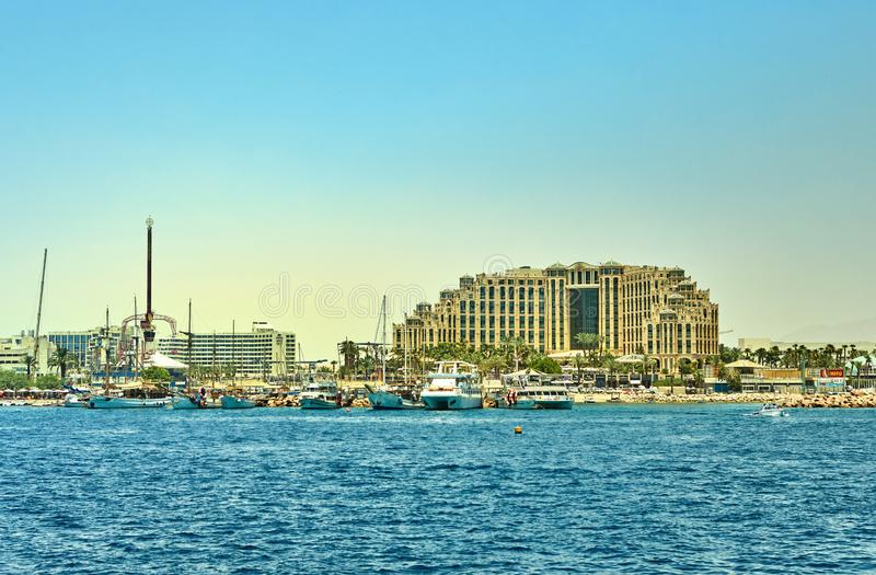 View from the luxury yacht to the Red Sea. Hotels for tourists, boats and yachts for a holiday royalty free stock photo