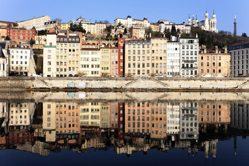 View of Lyon and Saone River. In spring stock photo