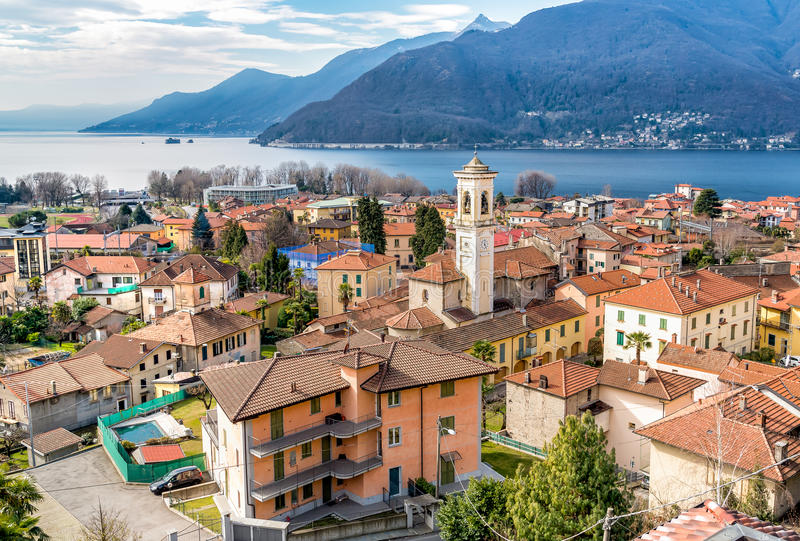 View of Maccagno and Lake Maggiore from above, Italy. View of Maccagno and Lake Maggiore from above, Luino, Italy royalty free stock image