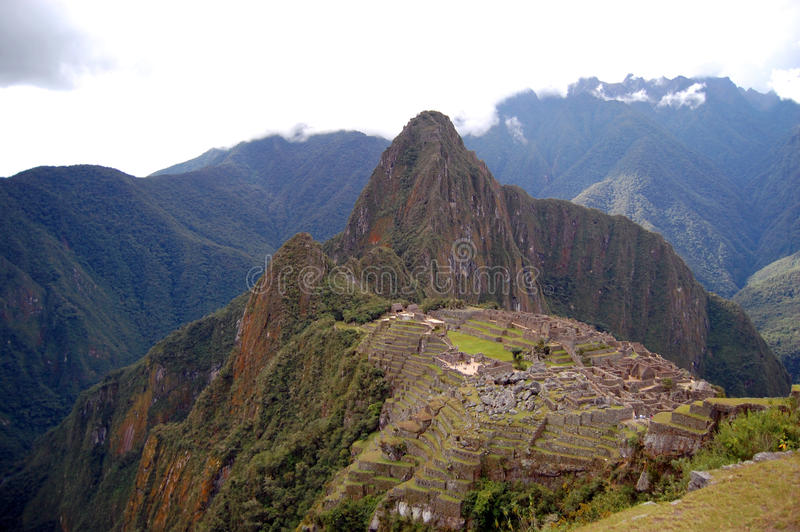 View of Machu Picchu and Huayna Pichhu from Inca Trail royalty free stock images
