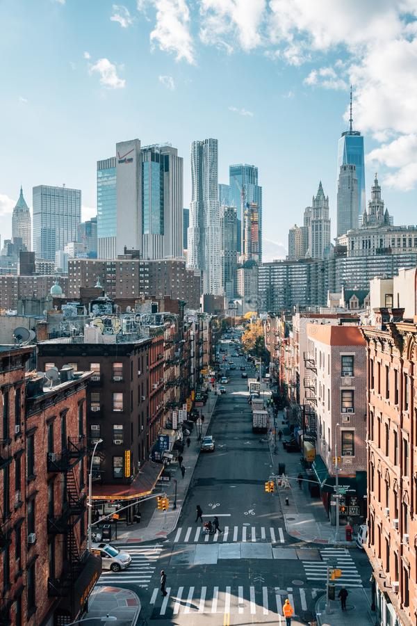 View of Madison Street and the Financial District from the Manhattan Bridge, in the Lower East Side, New York City stock image