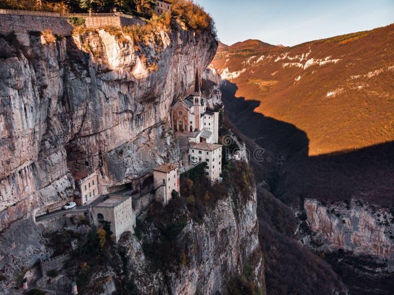 View of Madonna della Corona Sanctuary, Italy. Aerial photo drone View of Madonna della Corona Sanctuary, Italy royalty free stock image