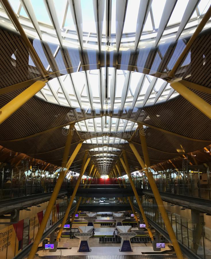 The view on Madrid airport Barajas` architectural pattern. stock images