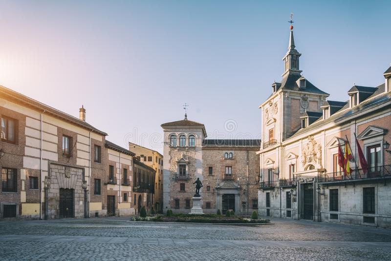 View of Madrid old Plaza de La Villa in the old town of Madrid, Spain. Architecture and landmark of Madrid royalty free stock image