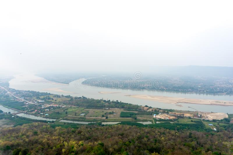 View of Mae Khong or Mekong river in Long Khai province, Thailand. View from the top stock image