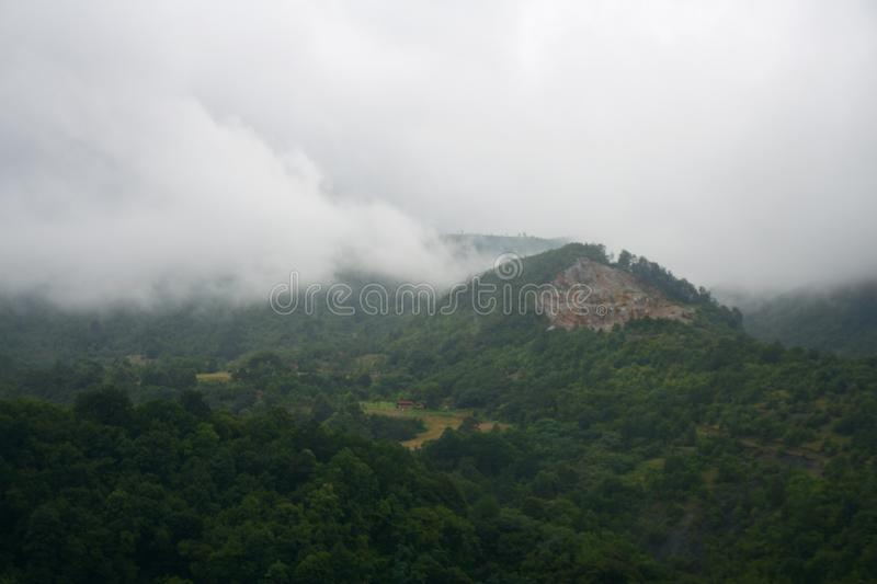 View from Maglič castle to neighboring mountain stock images
