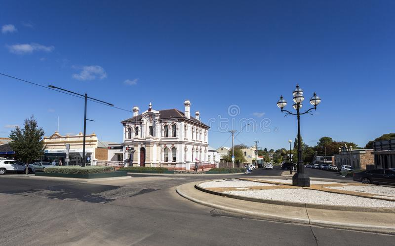 Glen Innes Old Buildings at the Turn of the Century. View of the magnificent 1890 palace, built in Italianate style and including an iron palisade fence to its royalty free stock photography