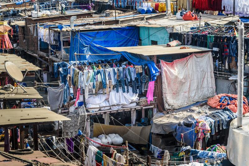 View of Dhobi Ghat is outdoor laundry in Mumbai. India. View of Mahalaxmi Dhobi Ghat is outdoor laundry in Mumbai. India royalty free stock images