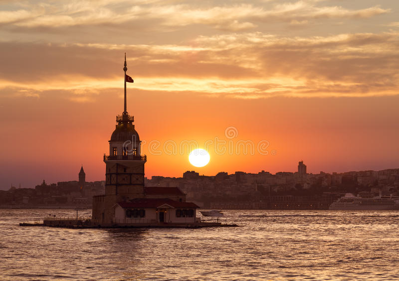 View of the Maiden tower at sunset, Istanbul, royalty free stock photo