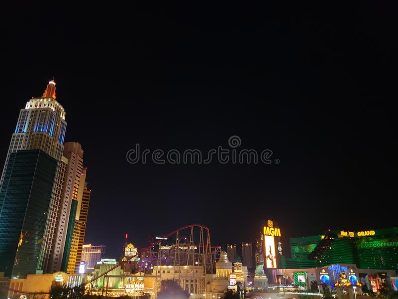 View from the main avenue in the tourist area of the city of Las Vegas, Nevada at night. Travel and tourism in the united states of america, style and design in stock photo