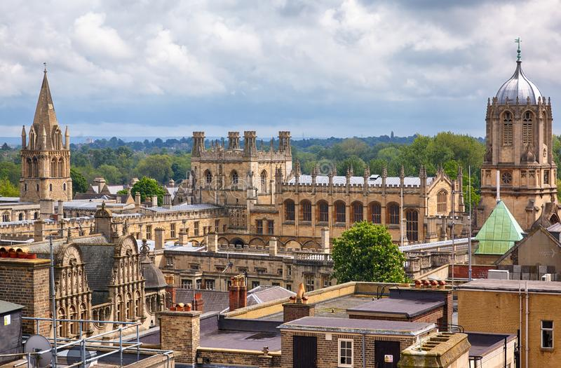 Christ Church as seen from the top of Carfax Tower. Oxford University. England. The view of main Christ Church college buildings: Cathedral, Tom Tower, Tom Quad stock photo