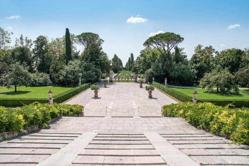 View from the main entrance of Villa Emo royalty free stock photography