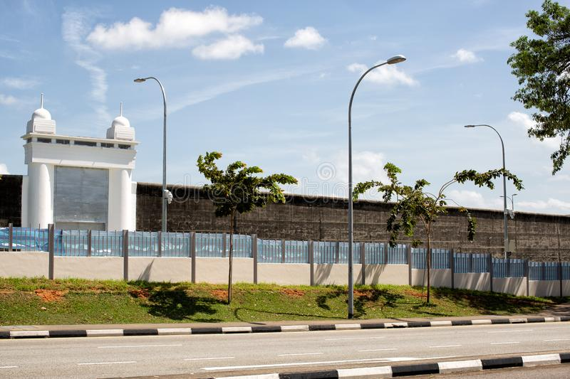 View of the main gate of the former Changi Prison royalty free stock photography