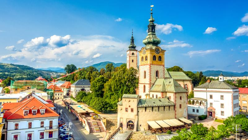 main square in Banska Bystrica, Slovakia with historical fortification royalty free stock images