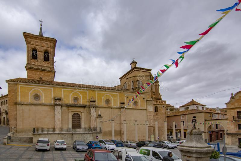 View of main square of Chinchilla de Monte-Aragon. Province of Albacete. Chinchilla de Montearagon, Albacete, Spain; February 2017: View of townhall in the main royalty free stock photos