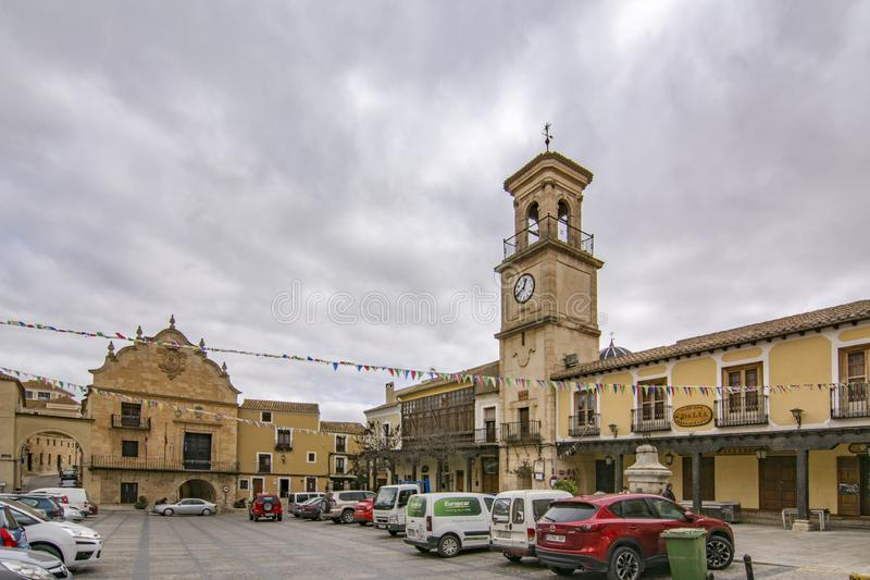 View of main square of Chinchilla de Monte-Aragon. Province of Albacete. Chinchilla de Montearagon, Albacete, Spain; February 2017: View of townhall in the main royalty free stock image