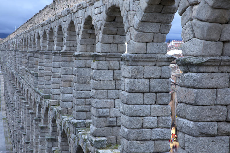 View of main square and roman aqueduct Segovia Spain royalty free stock image