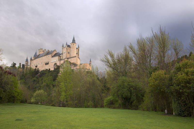 View of main square and roman aqueduct Segovia Spain royalty free stock photo