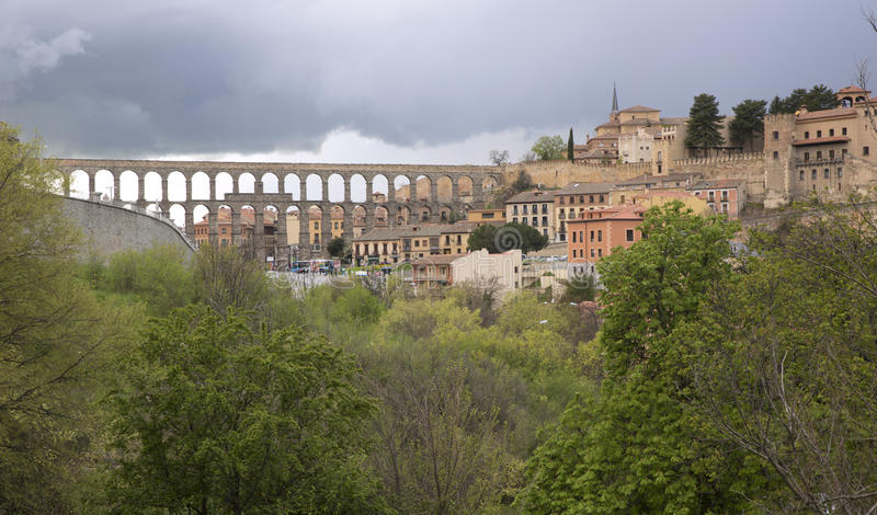 View of main square and roman aqueduct Segovia Spain stock image
