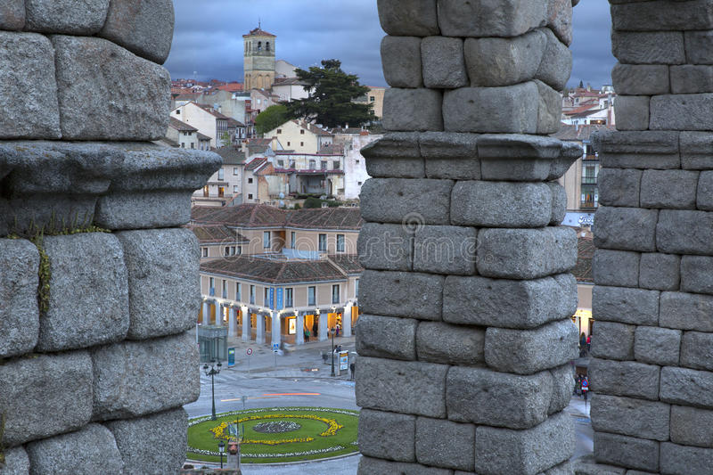 View of main square and roman aqueduct Segovia Spain royalty free stock photography