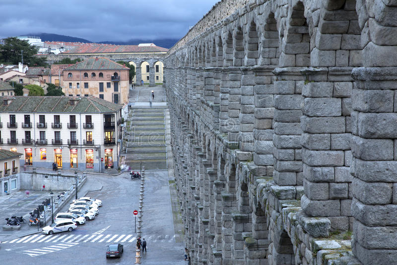 View of main square and roman aqueduct Segovia Spain stock photography