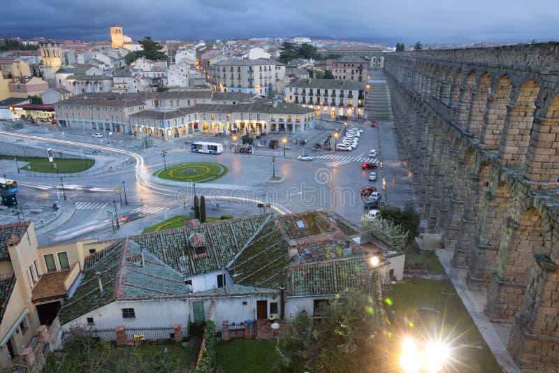 View of main square and roman aqueduct Segovia Spain royalty free stock photos