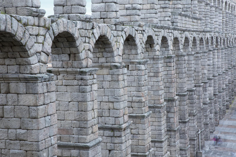 View of main square and roman aqueduct Segovia Spain stock photo
