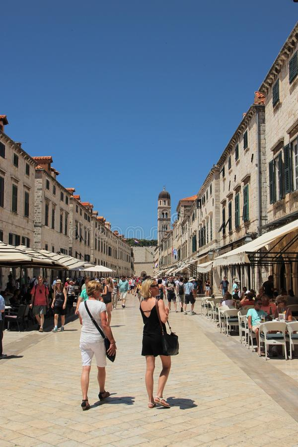 Dubrovnik, Croatia, June 2015. View of the main street of the ancient city against the blue sky. stock image