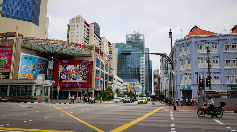 View of the main street in Chinatown, Singapore stock photo