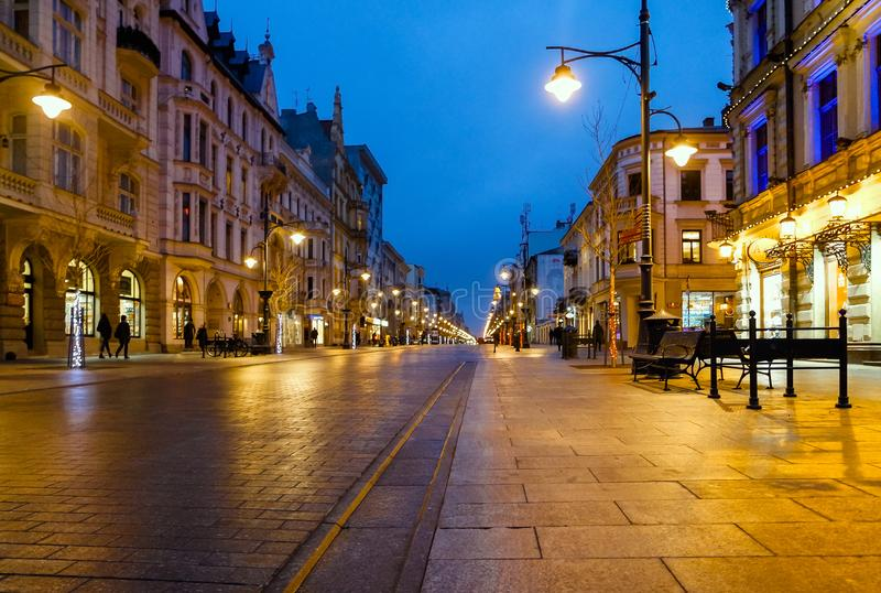 View of the main street Piotrkowska, Lodz stock photos