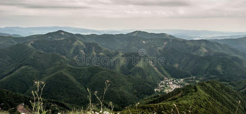 View from Majerova skala hill in Velka Fatra mountains stock photography
