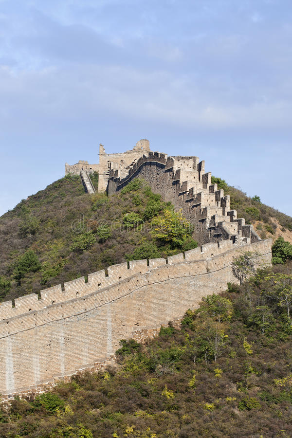 View on the majestic Great Wall at sunset at Jinshanling, 120 KM northeast from Beijing. royalty free stock photos