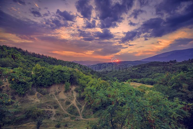 View of a majestic mountain sunset stock photo