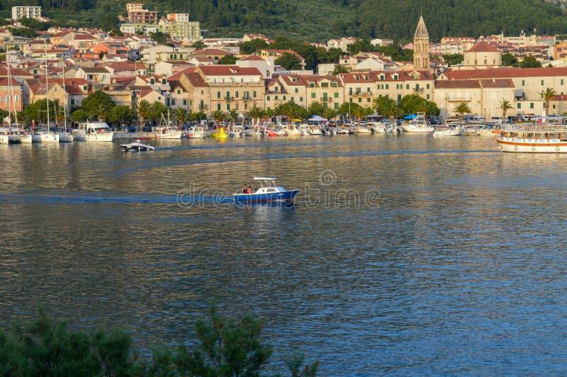 View of Makarska city center from the sea in Makarska,  Dalmatia, Croatia on June 11, 2019. stock photography