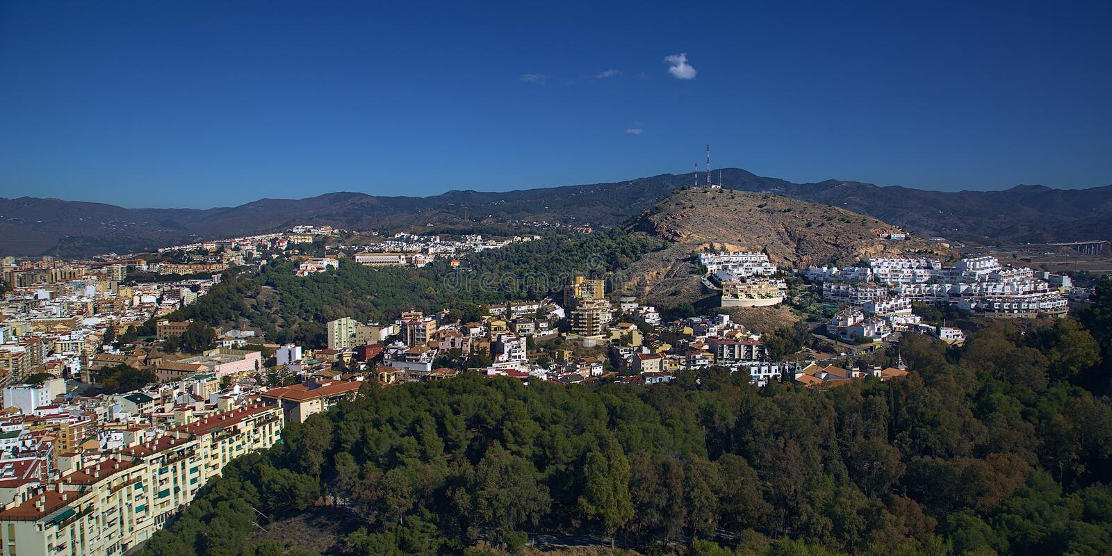 View of Malaga. A top view of a neighbourhood of Malaga nestled in thr mountains stock photo