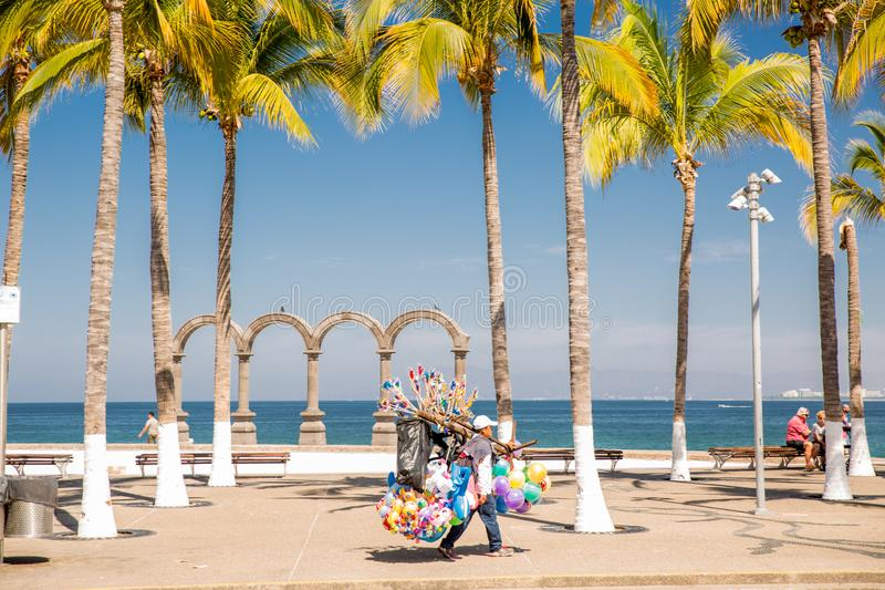 View from the Malecon in Centro. View from the Malecon Boardwalk in central Puerto Vallarta, Jalisco, Mexico stock photo