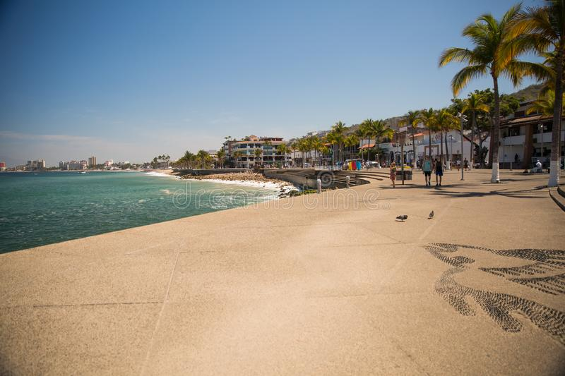 View from the Malecon in Centro. View from the Malecon Boardwalk in central Puerto Vallarta, Jalisco, Mexico stock images