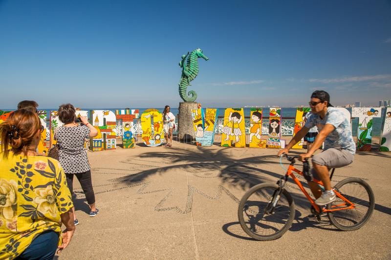 View from the Malecon in Centro. View from the Malecon Boardwalk in central Puerto Vallarta, Jalisco, Mexico stock image