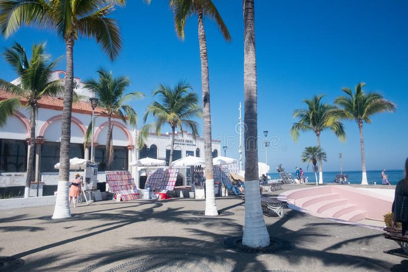 View from the Malecon in Centro. View from the Malecon Boardwalk in central Puerto Vallarta, Jalisco, Mexico stock photos