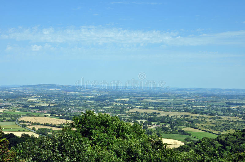 A view from the Malvern hills. A summertime view of the landscape and countryside from the Malvern hills in Worcestershire stock photos