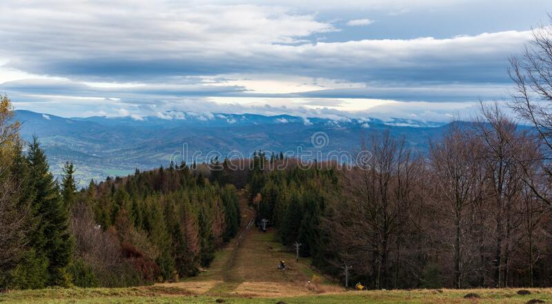View from Maly Javorovy hill in late autumn Moravskoslezske Beskydy mountains in Czech republic. View from Maly Javorovy hill in late autumn Moravskoslezske stock image