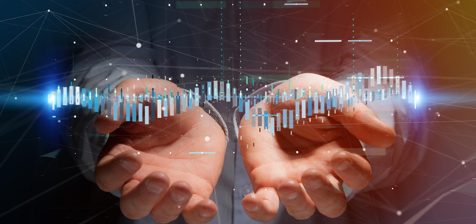 Man holding a Business stock exchange trading data information. View of a Man holding a Business stock exchange trading data information stock photography