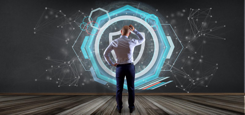 Man holding a Shield web security concept 3d rendering. View of a Man holding a Shield web security concept 3d rendering royalty free stock photography