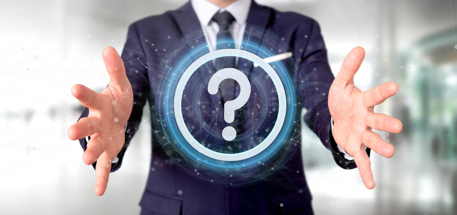 Man holding a Technology question mark icon on a circle 3d rendering. View of a Man holding a Technology question mark icon on a circle 3d rendering royalty free stock photography