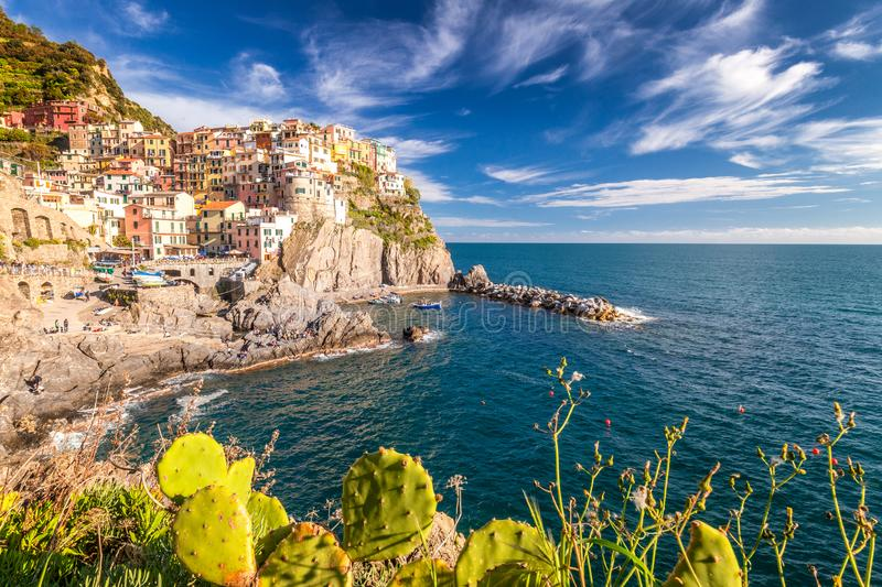 View of Manarola Manaea in the local dialect. The second-smallest of the famous Cinque Terre towns, Italy stock image