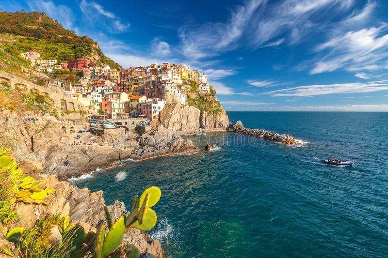 View of Manarola Manaea in the local dialect. The second-smallest of the famous Cinque Terre towns, Italy royalty free stock image