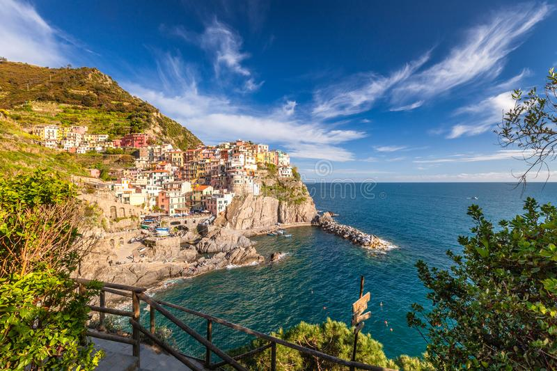 View of Manarola Manaea in the local dialect. The second-smallest of the famous Cinque Terre towns, Italy stock images
