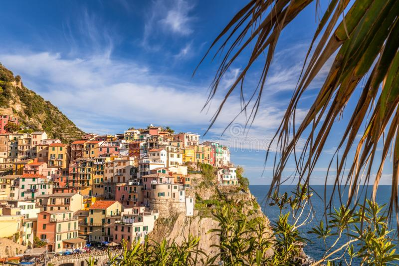 View of Manarola Manaea in the local dialect. The second-smallest of the famous Cinque Terre towns, Italy royalty free stock photos