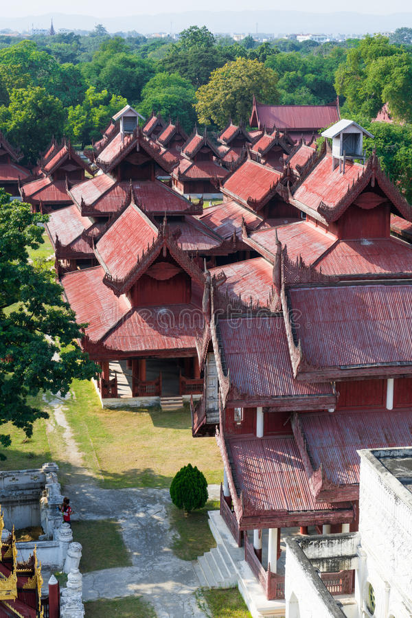 View of Mandalay Palace in myanmar. High angle view of Mandalay Palace in myanmar royalty free stock image