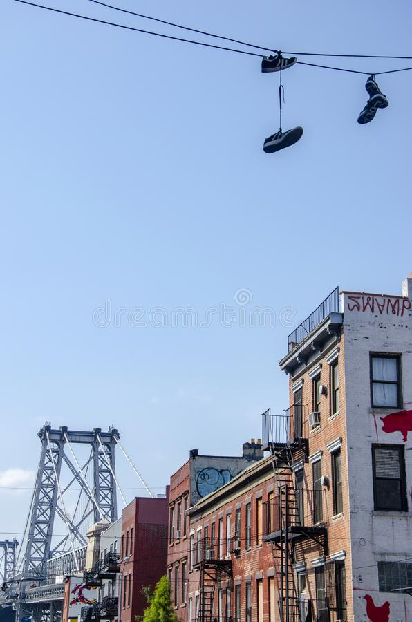 View of the Williamsburg Bridge from the 6th St in the Williamsburg neighborhood. New York City. Usa stock image